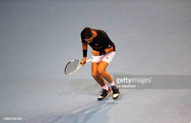 Cameron Norrie of Great Britain reacts in his match against Jurabek Karimov of Uzbekistan during day one of the Davis Cup by BNP Paribas World Group...