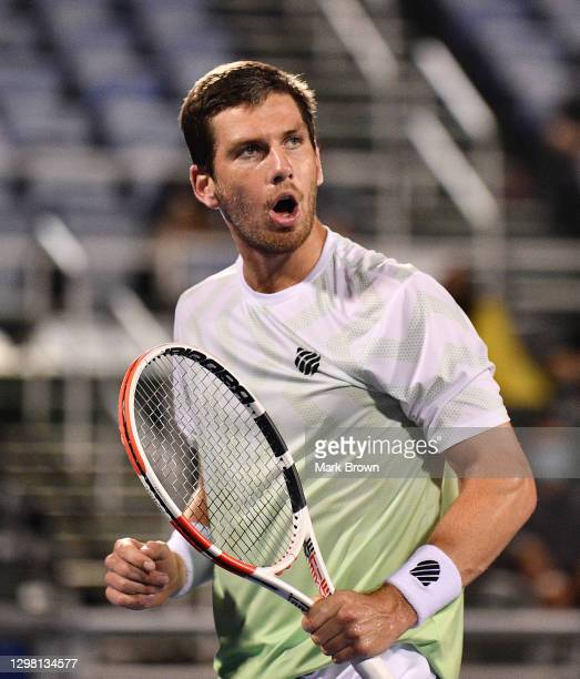 Cameron Norrie of Great Britain reacts to winning a point against Sebastian Korda during the Semifinals of the Delray Beach Open by Vitacost.com at...