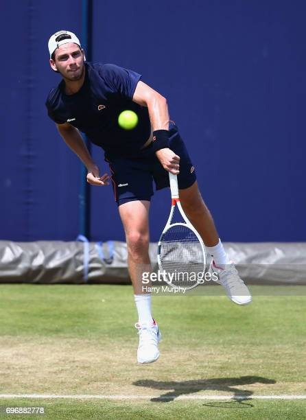 Cameron Norrie of Great Britain serves during a practice session ahead of the Aegon Championships at Queens Club on June 16 2017 in London England
