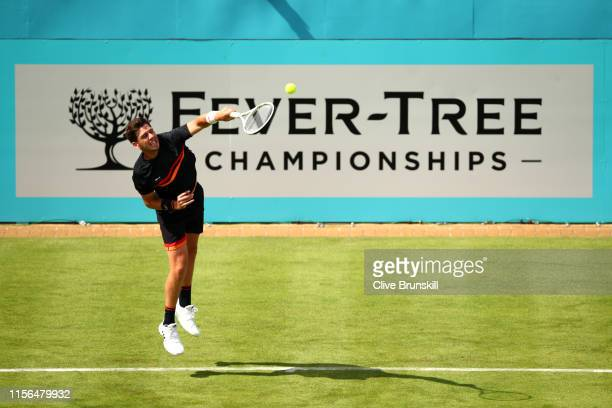 Cameron Norrie of Great Britain serves during his First Round Singles Match against Kevin Anderson of South Africa during Day One of the FeverTree...