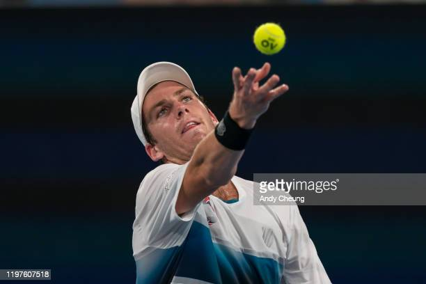 Cameron Norrie of Great Britain serves during his Group C singles match against Steve Darcis of Belgium during day three of the 2020 ATP Cup Group...