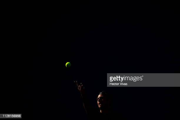 Cameron Norrie of Great Britain serves during the quarterfinals match between Mackenzie McDonald of United States and Cameron Norrie of Great Britain...