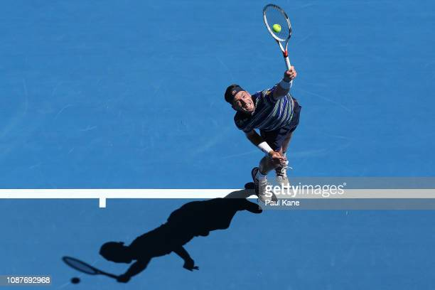Cameron Norrie of Great Britain serves to Stefanos Tsitsipas of Greece during day one of the 2019 Hopman Cup at RAC Arena on December 29 2018 in...