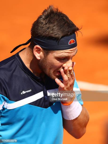 Cameron Norrie of Great Britain shows his frustration against Lorenzo Sonego of Italy in their third round match during day five of the Rolex...