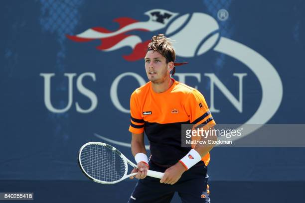 Cameron Norrie of the United Kingdom looks on during his first round Men's Singles match against Dmitry Tursunov of Russia on Day One of the 2017 US...