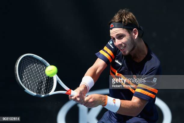 Cameron Norrie of United Kingdom competes in his first round match against Filip Peliwo of Canada during 2018 Australian Open Qualifying at Melbourne...