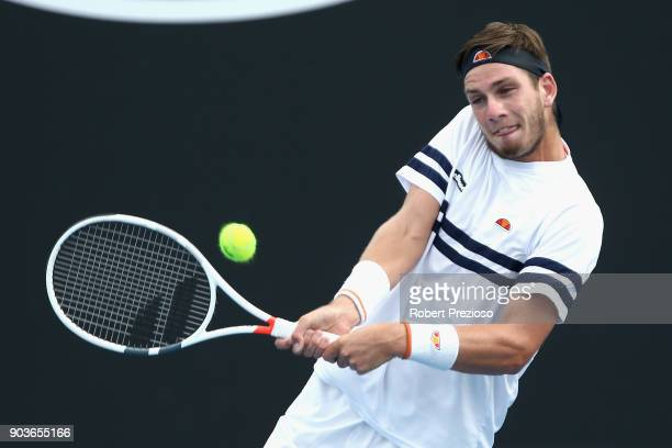 Cameron Norrie of United Kingdom competes in his second round match against JohnPatrick Smith of Australia during 2018 Australian Open Qualifying at...