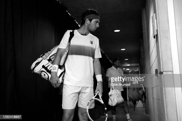 Cameron Norrie prepares to enter the court ahead of his singles match against Daniel Evans on day 3 of Schroders Battle of the Brits at the National...