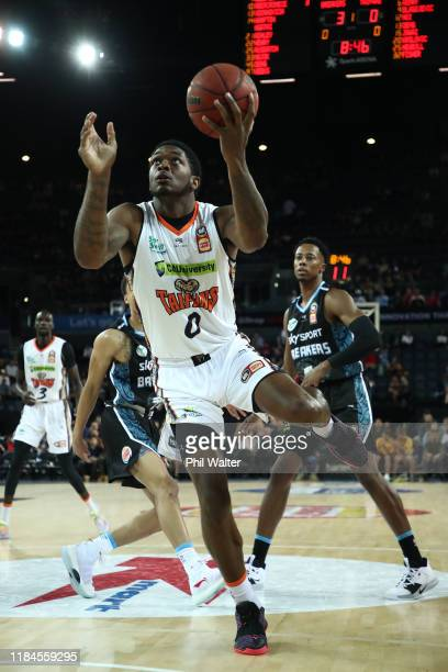 Cameron Oliver of the Cairns Taipans shoots during the round five NBL match between the New Zealand Breakers and the Cairns Taipans at Spark Arena on...