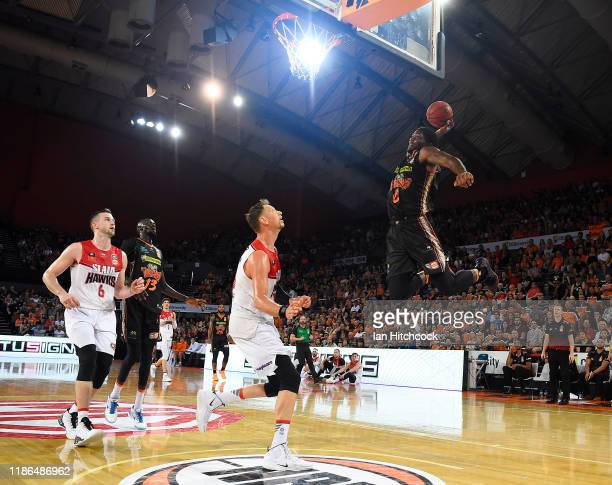 Cameron Oliver of the Taipans attempts a slam dunk during the round six NBL match between the Cairns Taipans and the Illawarra Hawks at the Cairns...