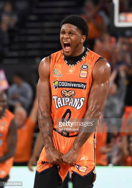 Cameron Oliver of the Taipans celebrates after hitting a three point shot during the round 13 NBL match between the Cairns Taipans and the South East...