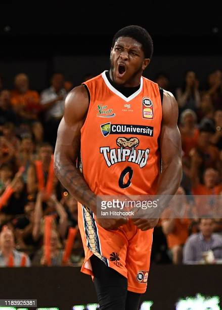 Cameron Oliver of the Taipans celebrates after scoring during the round four NBL match between the Cairns Taipans and Melbourne United at the Cairns...