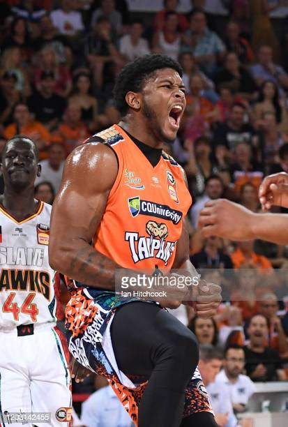 Cameron Oliver of the Taipans reacts after scoring during the round 18 NBL match between the Cairns Taipans and the Illawarra Hawks at the Cairns...