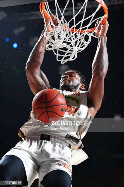 Cameron Oliver of the Taipans slam dunks during the match between the Adelaide 36ers and the Cairns Taipans at the Adelaide Entertainment Centre on...
