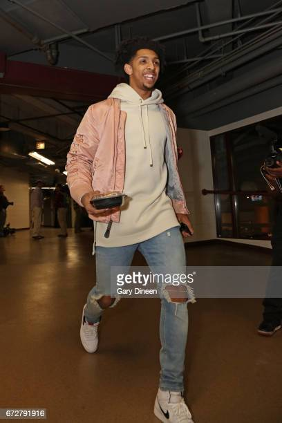 Cameron Payne of the Chicago Bulls arrives before Game Three of the Eastern Conference Quarterfinals against the Boston Celtics of the 2017 NBA...