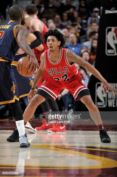 Cameron Payne of the Chicago Bulls blocks the shot against the Cleveland Cavaliers during the game on February 25 2017 at Quicken Loans Arena in...