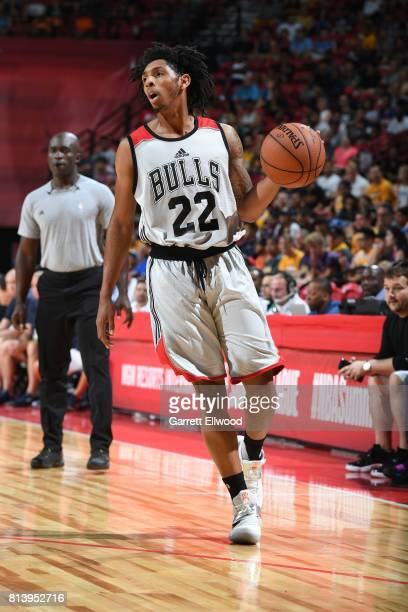 Cameron Payne of the Chicago Bulls dribbles against the Dallas Mavericks on July 8 2017 at the Thomas Mack Center in Las Vegas Nevada NOTE TO USER...