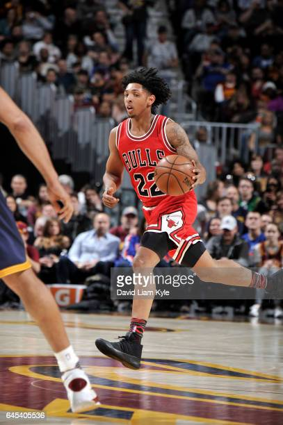 Cameron Payne of the Chicago Bulls drives to the basket against the Cleveland Cavaliers during the game on February 25 2017 at Quicken Loans Arena in...