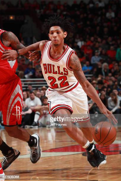 Cameron Payne of the Chicago Bulls drives to the basket against the Houston Rockets on March 10 2017 at the United Center in Chicago Illinois NOTE TO...