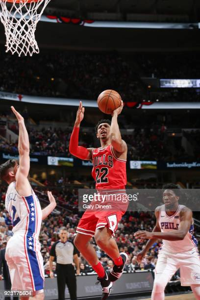 Cameron Payne of the Chicago Bulls dunks against the Philadelphia 76ers on February 22 2018 at the United Center in Chicago Illinois NOTE TO USER...