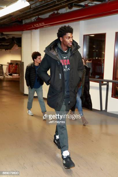 Cameron Payne of the Chicago Bulls enters the before the game against the New York Knicks on December 9 2017 at the United Center in Chicago Illinois...