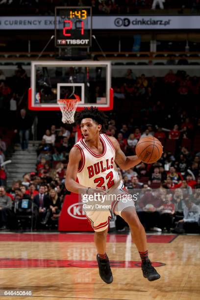 Cameron Payne of the Chicago Bulls handles the ball against the Denver Nuggets on February 28 2017 at the United Center in Chicago Illinois NOTE TO...