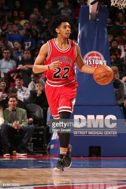 Cameron Payne of the Chicago Bulls handles the ball against the Detroit Pistons on March 6 2017 at The Palace of Auburn Hills in Auburn Hills...