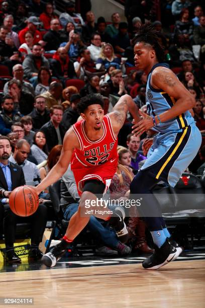 Cameron Payne of the Chicago Bulls handles the ball against the Memphis Grizzlies on March 7 2018 at United Center in Chicago Illinois NOTE TO USER...