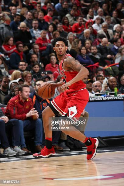 Cameron Payne of the Chicago Bulls handles the ball against the LA Clippers on March 13 2018 at the United Center in Chicago Illinois NOTE TO USER...