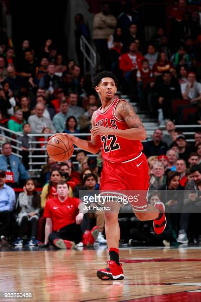Cameron Payne of the Chicago Bulls handles the ball against the Cleveland Cavaliers on March 17 2018 at the United Center in Chicago Illinois NOTE TO...