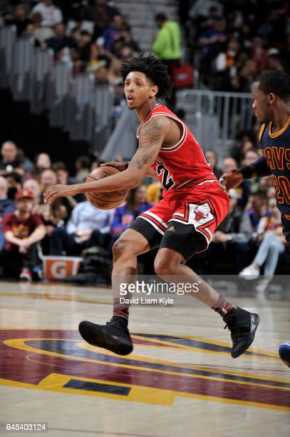 Cameron Payne of the Chicago Bulls handles the ball against the Cleveland Cavaliers during the game on February 25 2017 at Quicken Loans Arena in...