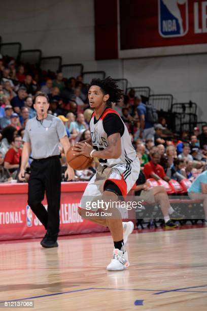 Cameron Payne of the Chicago Bulls handles the ball against the Atlanta Hawks during the 2017 Las Vegas Summer League on July 10 2017 at the Cox...