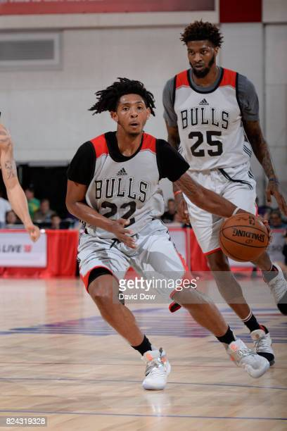 Cameron Payne of the Chicago Bulls handles the ball during the game against the Atlanta Hawks during the 2017 Las Vegas Summer League on July 10 2017...