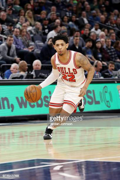Cameron Payne of the Chicago Bulls handles the ball during the game against the Minnesota Timberwolves on February 24 2018 at Target Center in...