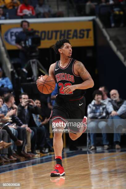 Cameron Payne of the Chicago Bulls handles the ball during the game against the Memphis Grizzlies on March 15 2018 at FedExForum in Memphis Tennessee...