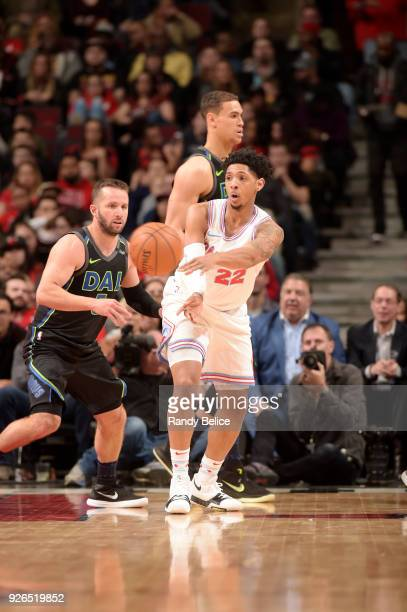 Cameron Payne of the Chicago Bulls passes the ball against the Dallas Mavericks on March 2 2018 at the United Center in Chicago Illinois NOTE TO USER...