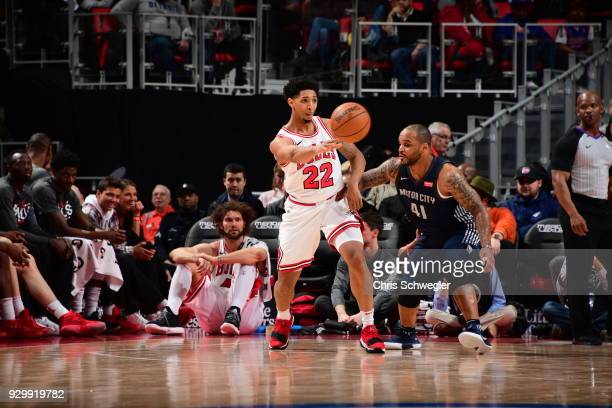 Cameron Payne of the Chicago Bulls passes the ball against the Detroit Pistons on March 9 2018 at Little Caesars Arena in Detroit Michigan NOTE TO...