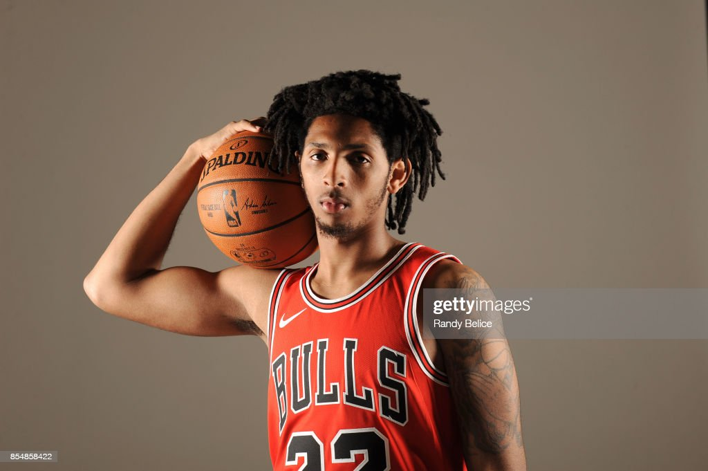 Cameron Payne #22 of the Chicago Bulls poses for a portrait during the 2017-18 NBA Media Day on September 25, 2017 at the United Center in Chicago, Illinois.