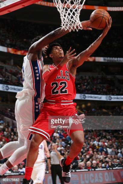 Cameron Payne of the Chicago Bulls shoots a lay up against the Philadelphia 76ers on February 22 2018 at the United Center in Chicago Illinois NOTE...