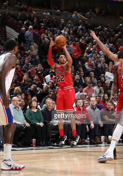 Cameron Payne of the Chicago Bulls shoots the ball against the Philadelphia 76ers on February 22 2018 at the United Center in Chicago Illinois NOTE...