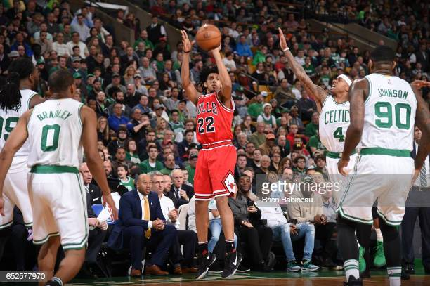 Cameron Payne of the Chicago Bulls shoots the ball against the Boston Celtics during the game on March 12 2017 at the TD Garden in Boston...