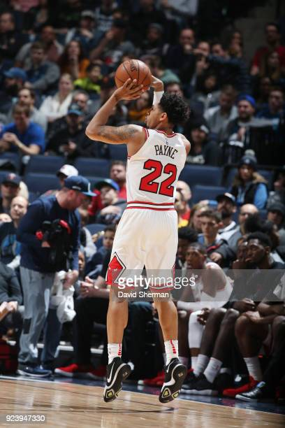 Cameron Payne of the Chicago Bulls shoots the ball against the Minnesota Timberwolves on February 24 2018 at Target Center in Minneapolis Minnesota...