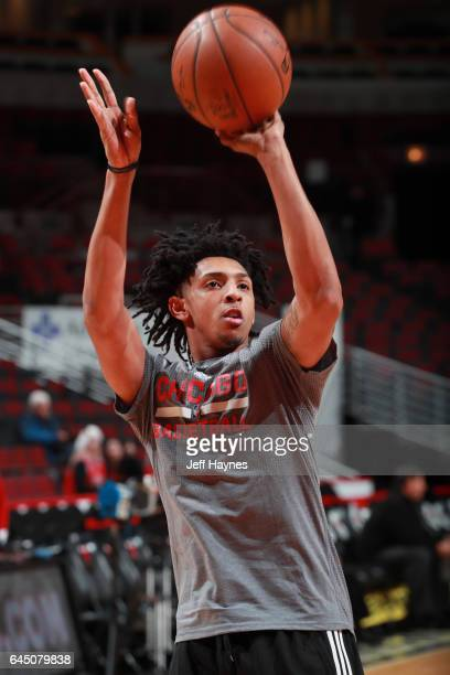 Cameron Payne of the Chicago Bulls shoots the ball before the game against the Phoenix Suns on February 24 2017 at the United Center in Chicago...