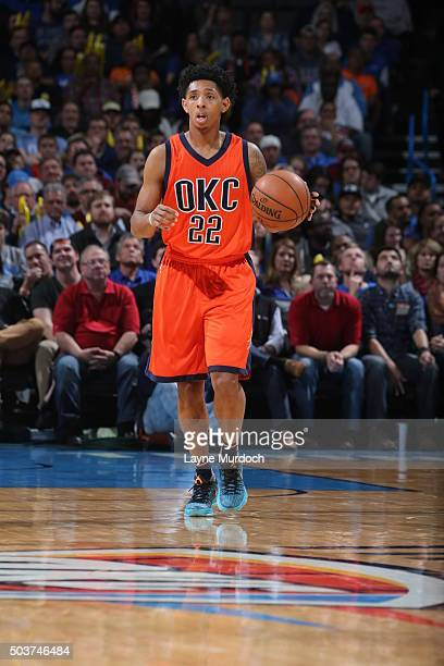 Cameron Payne of the Oklahoma City Thunder brings the ball up court against the Memphis Grizzlies on January 6 2016 at Chesapeake Energy Arena in...