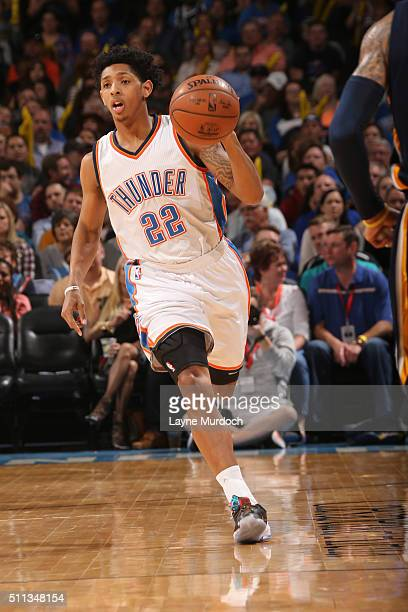 Cameron Payne of the Oklahoma City Thunder brings the ball up court against the Indiana Pacers on February 19 2016 at Chesapeake Energy Arena in...