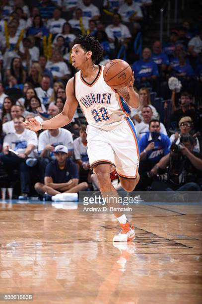 Cameron Payne of the Oklahoma City Thunder brings the ball up court against the Golden State Warriors in Game Three of the Western Conference Finals...