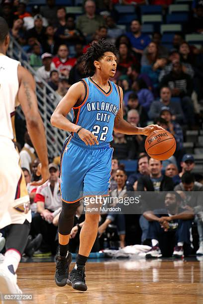 Cameron Payne of the Oklahoma City Thunder brings the ball up court during the game against the New Orleans Pelicans on January 25 2017 at the...