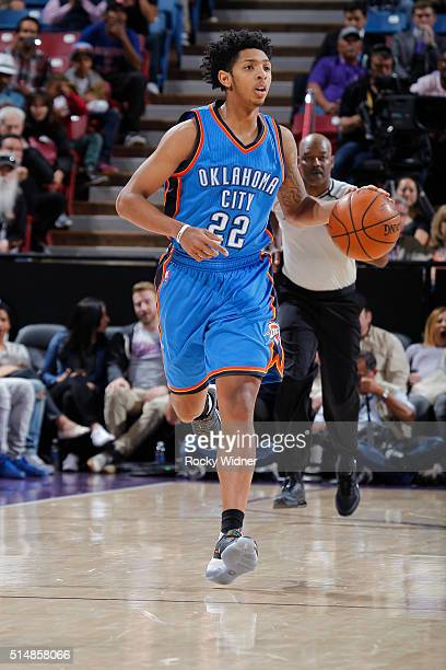 Cameron Payne of the Oklahoma City Thunder brings the ball up the court against the Sacramento Kings on February 29 2016 at Sleep Train Arena in...