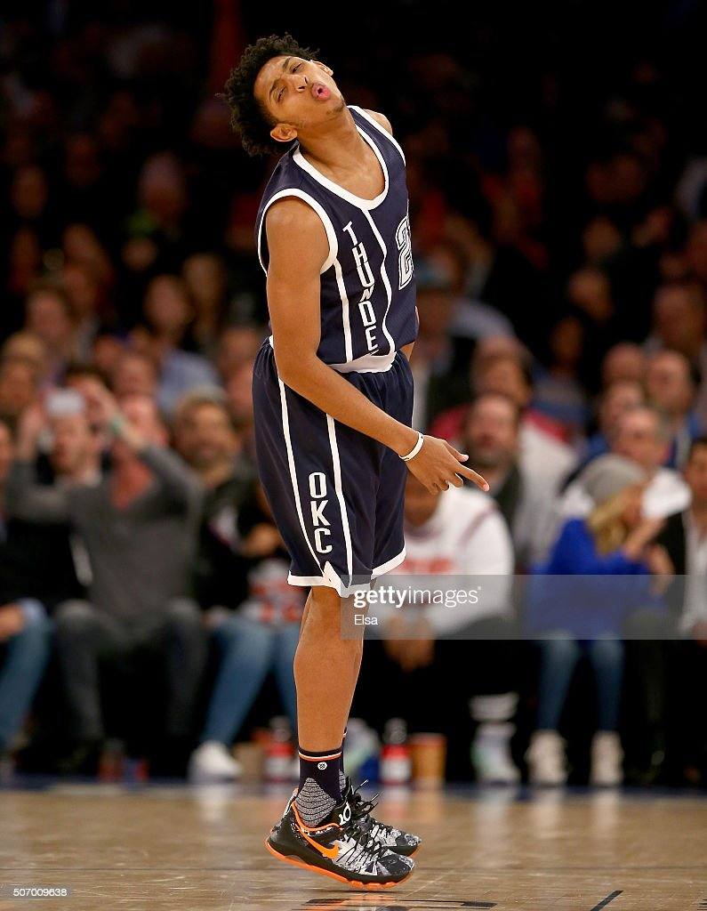Cameron Payne #22 of the Oklahoma City Thunder celebrates his three point shot in the second half against the New York Knicks at Madison Square Garden on January 26, 2016 in New York City.The Oklahoma City Thunder defeated the New York Knicks 128-122 in overtime.