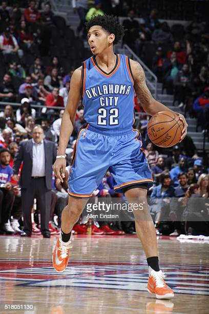Cameron Payne of the Oklahoma City Thunder defends the ball against the Detroit Pistons during the game on March 29 2016 at The Palace of Auburn...